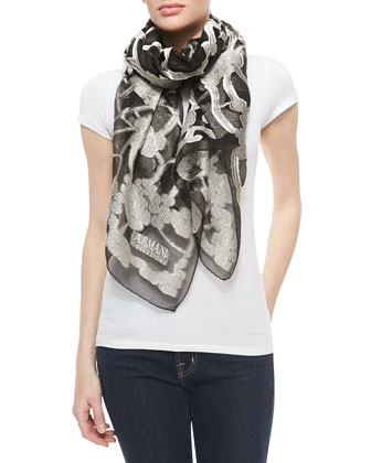 Fil Coupe Scarf, Black/White