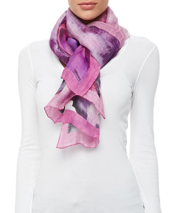 Floral Watercolor Linen-Silk Stole, Fuchsia
