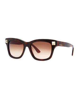 Rockstud-Temple Sunglasses, Havana