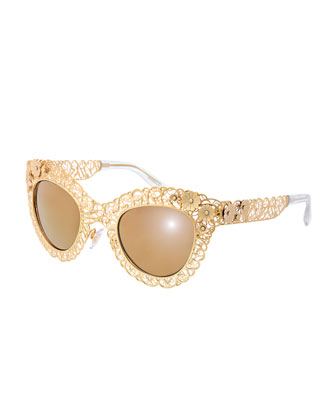 Antique Golden Filgree Cat-Eye Sunglasses