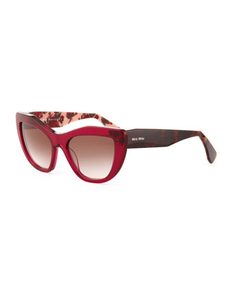 Angled Cat-Eye Sunglasses, Fuchsia/Brown