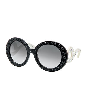 Baroque Crystal Round Sunglasses, Black/White