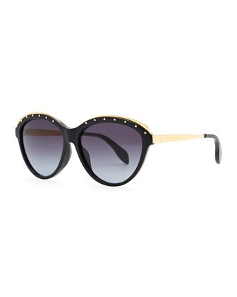Studded Round Sunglasses, Black