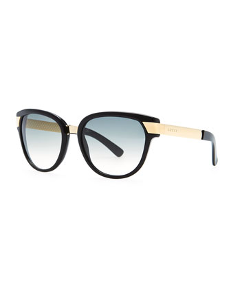 Gradient Sunglasses, Black/Green