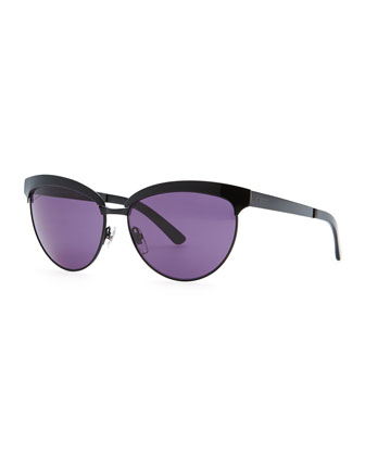 Shiny Half-Frame Sunglasses, Black/Purple