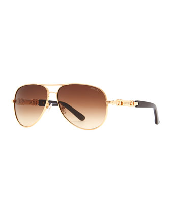 Reese Chain-Temple Aviator Sunglasses, Rose Gold