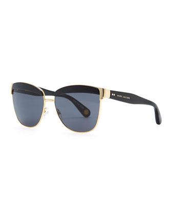 Lidded Metal Sunglasses, Gold/Black
