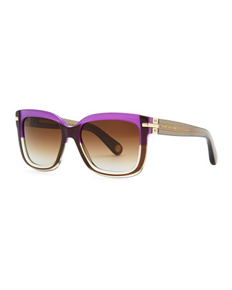 Squared Sunglasses, Plum/Brown