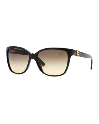 Square Gradient Sunglasses, Black