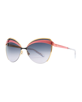 Half-Rim Cat-Eye Sunglasses, Pink