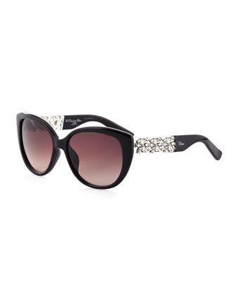 Mystere Crystal-Temple Sunglasses, Black