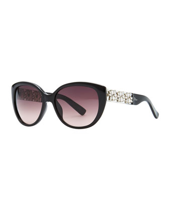 Mystere Cat-Eye Sunglasses, Black