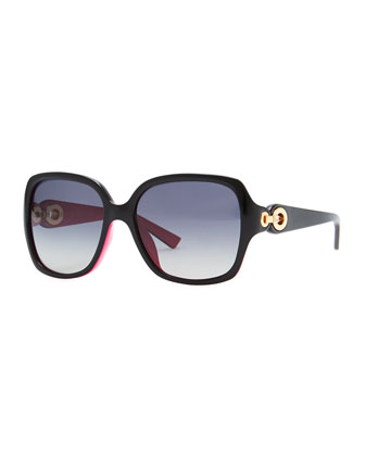 issimo 1N Square Sunglasses, Black/Fuchsia