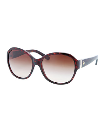 Classic Round-Frame Sunglasses, Tortoise