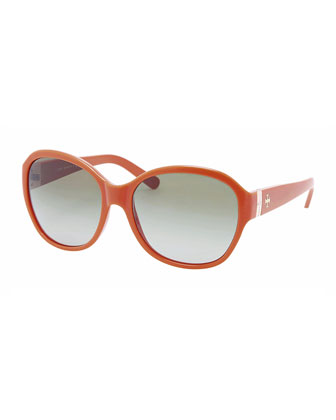 Classic Round-Frame Sunglasses, Orange
