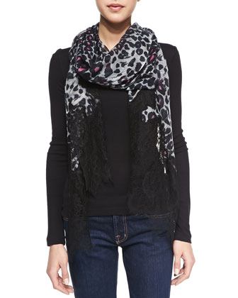 Cashmere Jaguar-Print Scarf with Lace Trim, Gray