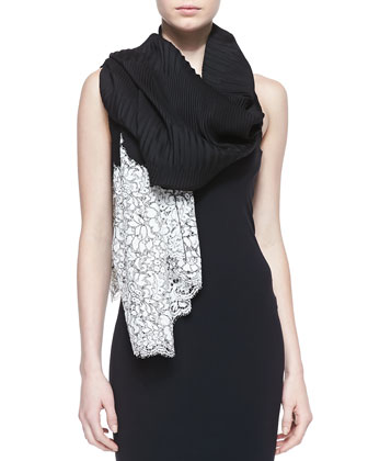 Cashmere Flower Lace Plisse Shawl, Black/White