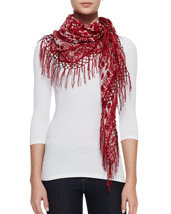 Silesa Floral Square Scarf, Red