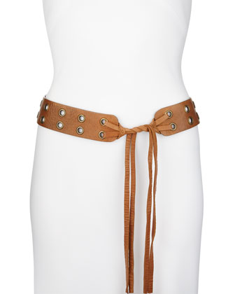 Long Sleeveless Jersey-Back Dress & Double-Grommet Leather Tie Hip Belt