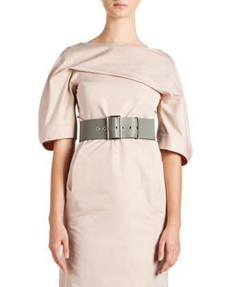 Techno-Duchesse Drape Dress and Wide Leather Grommet Belt