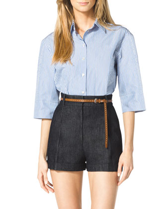 Striped Wide-Sleeve Blouse, Pleated Denim Shorts