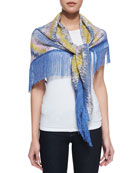 Long Knit Fringe Stole, Blue