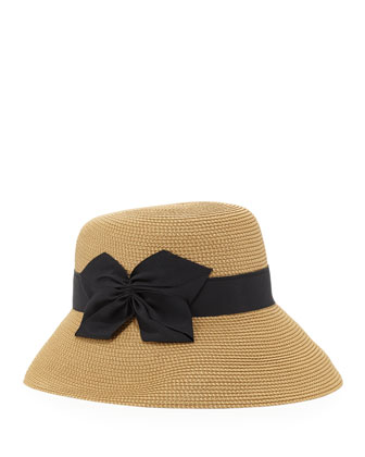 Gwyn Squishee Classic Fedora, Natural/Black
