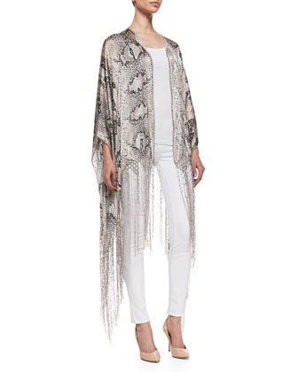 Snake-Print Beaded Silk Fringe Shawl