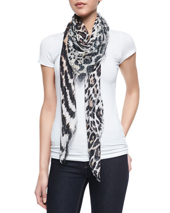 Animal-Print Soft Knit Square Scarf