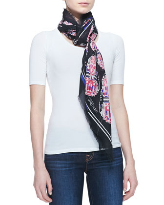 Robot Circle Shawl, Black/Pink