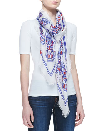 Robot Circle Shawl, White/Blue