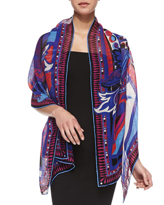 Taitu Rectangular Printed Linen-Cotton Stole