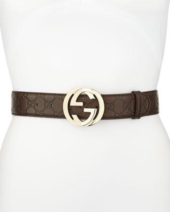 G-Adjustable Logo Leather Belt, Chocolate