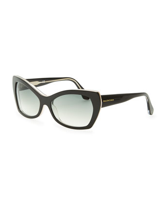 Rectangle Cat-Eye Sunglasses, Black/Crystal