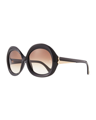 Oversized Round Sunglasses, Black/Brown Gradient