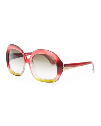 Oversized Square Sunglasses, Red/Amber
