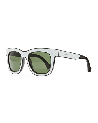 Cracked Square Sunglasses, White/Black