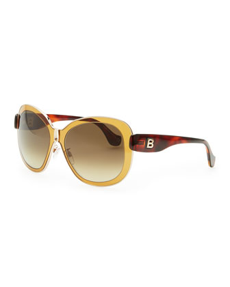 Transparent Framed Sunglasses, Amber Brown