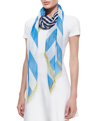 Striped Seasonless Scarf, Blue/White