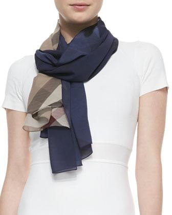Ombre Check Silk Scarf, Navy/Camel