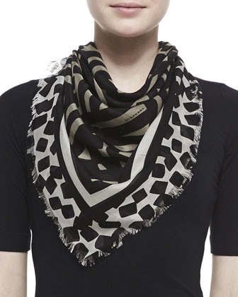 Graphic Stripe Voile Scarf, Tan/Black