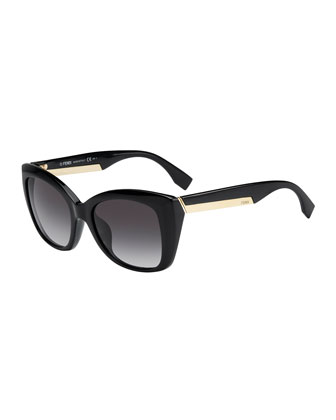 Angled Sunglasses, Shiny Black