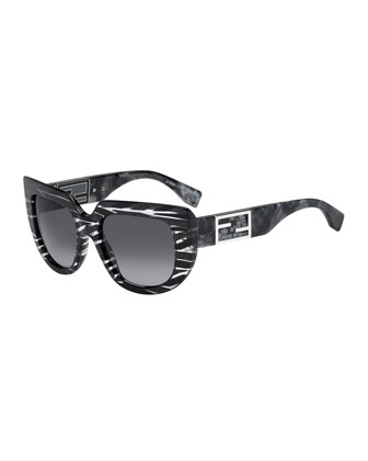 Striped Square & Variegated Sunglasses, Stingray Gray