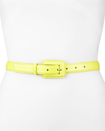 Patent Leather Belt, Lemon Yellow