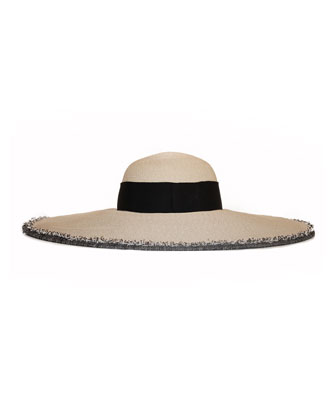 Sunny Wide-Brim Hat with Fringe Trim