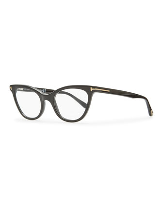 Slight Cat-Eye Fashion Glasses, Shiny Black