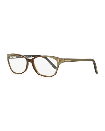 Small Square Fashion Glasses, Brown