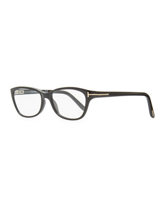 Small Square Fashion Glasses, Black