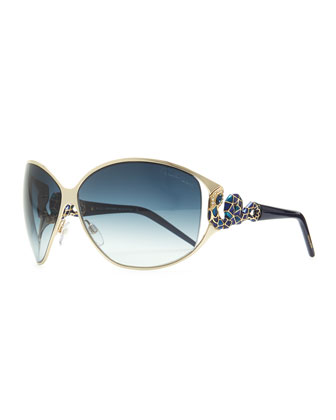Bellatrix Round Jeweled Snake-Temple Sunglasses, Gold/Blue