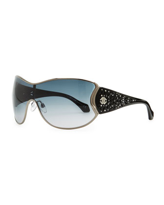 Metal Shield Sunglasses with Lattice, Metallic Gray